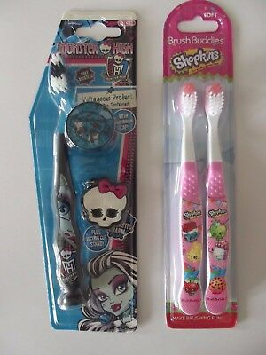 "Monster High Toothbrush With Cap - Shopkins  ""choose"" Stocking Fillers"