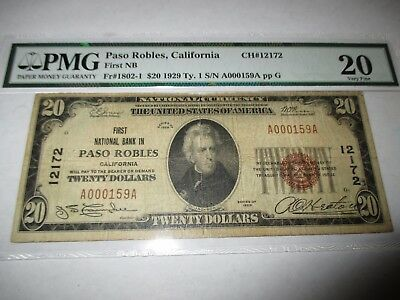 $20 1929 Paso Robles California CA National Currency Bank Note Bill! #12172 VF