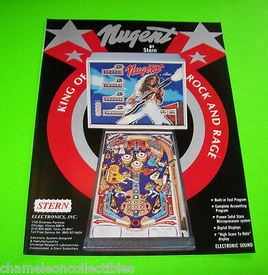 TED NUGENT By STERN 1978 ORIGINAL PINBALL MACHINE SALES FLYER BROCHURE