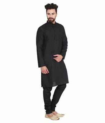 Shirt Kurta black Color Indian 100% Cotton Solid Men's Shirt Top Tunic Plus Size