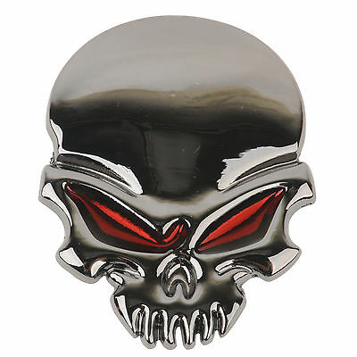 "TUFF ""RED EYES SKULL"" Grey Plated Stick on Metal Emblem Bike(H6)SKULL BOYZ SA"