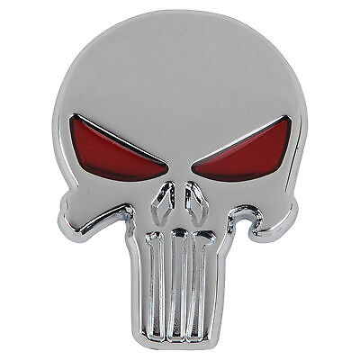 "BAD BOYZ ""PUNISHER SKULL"" Chrome Plated Stick on Metal Emblem(H9)SKULL BOYZ SA"