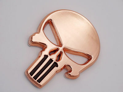 Rare COPPER PUNISHER SKULL Polished Alloy Stick on Metal Emblem(H8)SKULL BOYZ SA
