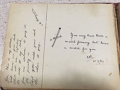 1920 Autograph Book With Personal Inscriptions From Friends Scrapbook Antique