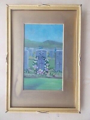 Vintage Oil On Canvas Painting Ww2 R.a.f. Remembrance Graves Gravestone Cemetery