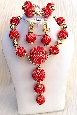 Peach with Red New Latest Design Party Bridal Wedding African Beads Jewelry Set