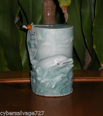 Sculptured Dolphin Pillar Candle Hand Painted Hand Crafted Nautical Vintage 2000