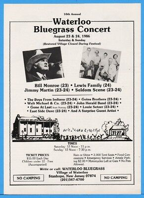1986 Waterloo Bluegrass Fest Stanhope NJ Boys From IN Bill Monroe Lewis Fam Ad