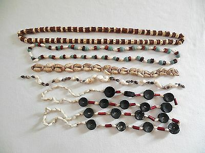 Lot Of Hand Strung Shell, Wood & Bone Bead Necklaces