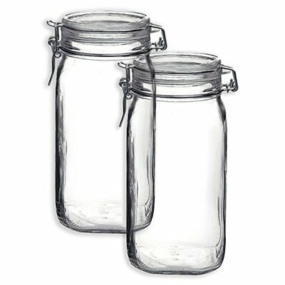 Bormioli Rocco Set OF 2 Fido Square Jars With Clear Bail And Trigger Lids Dining
