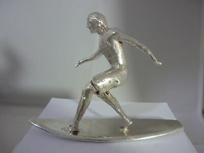 Stunning Very Rare Unique Large Sterling Silver Surfer Sculpture Signed