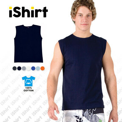 Mens Muscle Tees T-Shirts 100% Cotton Singlet Regular Fit Sporty Activewear