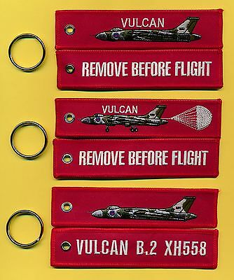 Vulcan REMOVE BEFORE FLIGHT Bordado Llavero/Etiqueta UN CONJUNTO DE 3 Diferente