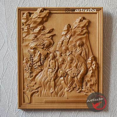 "Theophany Baptism of Jesus ( крещение ) - 3D Orthodox Wood Carved Icon (10""x8"")"
