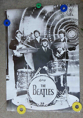 Vintage c 1960s The Beatles Poster BW by Personality Prints Printed Switzerland