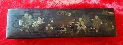 Antique Japanese Black Lacquered Hand Painted Box 19th Century