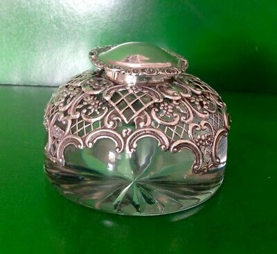 William Comyns Victorian Antique English Sterling Silver Paperweight Inkwell