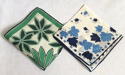 2 Vintage 1960s Cotton Handkerchiefs Leaf Patterns