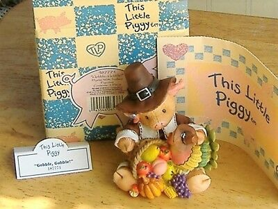 "This Little Piggy Thanksgiving Figurine ""Gobble Gobble""  Enesco Registered N/B"