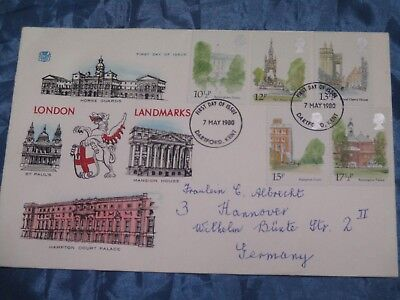 Briefmarken , Ersttagsbrief , Mai 1980 ,London / Landmarks , Brief nach Hannover