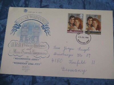 Briefmarken , Ersttagsbrief ,Juli 1986 , ROYAL Wedding , GB , Brief nach Krefeld