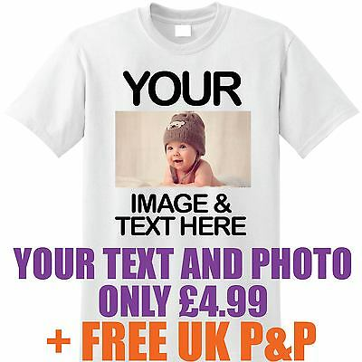 Personalise Your Image Photo - Custom Kids T Shirt Printing Birthday Party lot