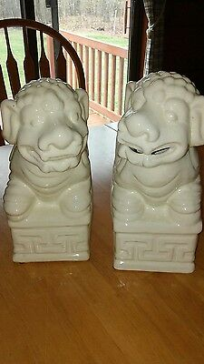 Antique / Vintage Chinese Foo Dogs Ceramic Sculptures Lot Of Two