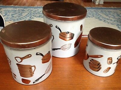 Vintage Mid Century Weibro Tin Canister Set. Utensil Pattern. Good Condition