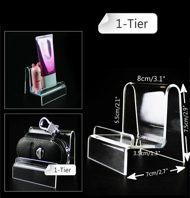 "4 x 3.1"" Width 1-Tier Acrylic Retail Display Aid Case Wallet Holder Easel Stand"