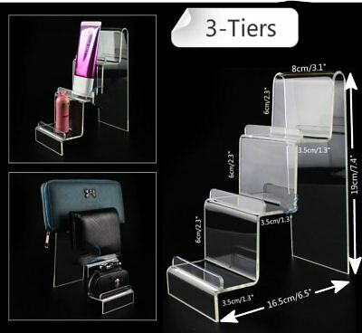 "2x 3.1"" Width 3-Tiers Acrylic Retail Display Aid Case Wallet Holder Easel Stand"