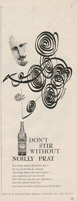 1956 Saul Steinberg Art Mustache Drawing Noilly Prat Vermouth Ad