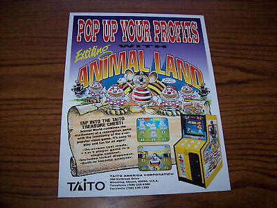 Taito Animal Land Video Arcade Game Flyer Brochure