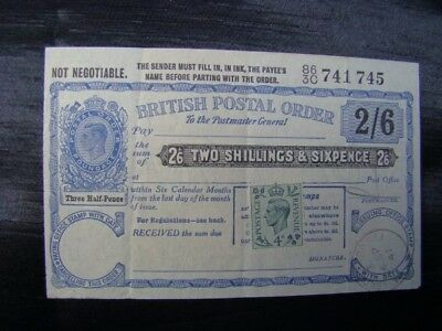 George VI Unused Postal Order without Counterfoil