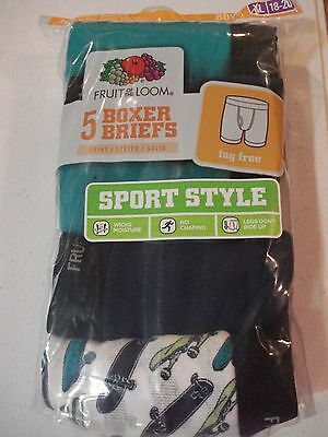 Fruit of the Loom Boys 5 Pack Boxer Briefs Size 18/20 XL NEW Sports Style