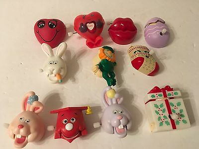 Lot of 11 Vtg Easter Valentine's Day Amimated Pins Russ Bunny Rabbit Heart