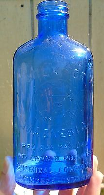 VINTAGE 1950's CHAS H. PHILLIPS CHEMICAL CO. MILK OF MAGNESIA EMBOSSED BOTTLE