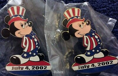 Disney Auctions Pins TWO dandy Uncle Sam Mickey Mouse Prototypes LE4 Silver Gold
