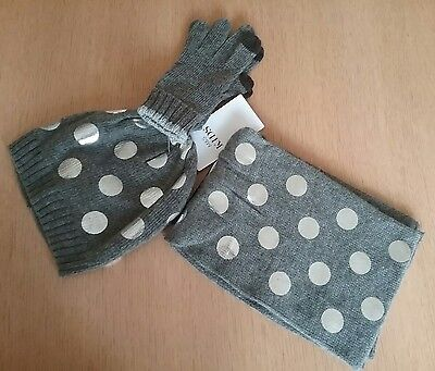 Marks & Spencer Kids Age 3-6 Years Grey & Silver Spotted Hat, Scarf & Gloves Set