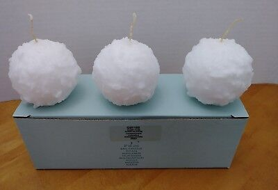 "Partylite Candy Cane 2"" Ball Candles Box of 3 Q21102 Retired New in Box"