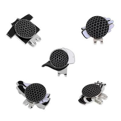 New Assorted Patterns Magnetic Hat Clip and Golf Ball Marker Black, 5Pcs
