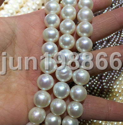 Huge 12-13mm Round white freshwater Cultured pearl Loose Beads 16""