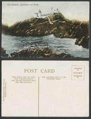 Alderney, The Casquets Lighthouse and Rocks, Channel Islands Old Colour Postcard