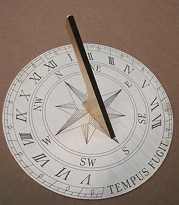 "Sundial. Finely Engraved Solid Brass Garden Sun Dial.  20cm (8"") Diameter"