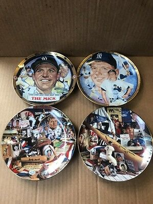 Mickey Mantle The Mick 7 NY Yankees Hamilton Collection Set of 4 Plates 1995