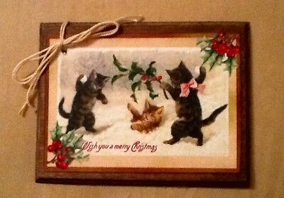 5 WOODEN Handcrafted Christmas Ornaments/Gift Tags/Hang Tags KITTEN/CAT Set1-2