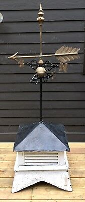 Antique Vintage Cupola Roof W/ Metal Wood Brass Weathervane Arrow