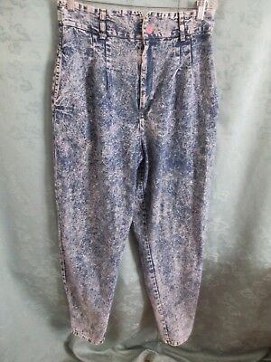 Vintage 80's High Waist Tapered Acid Wash Jeans Size 16