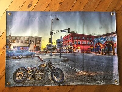 Harley bobber on Venice beach 3x2 foot man cave pool room wallhanging