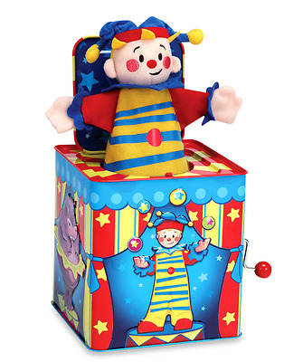 Silly Circus Jack in the Box Clown Plays Pop Goes the Weasel Made of Tin