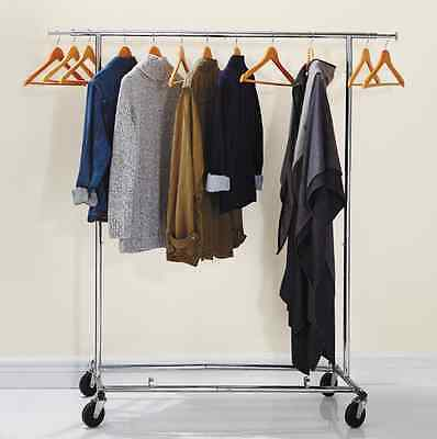 Folding Rolling Adjustable Height and Width Standing Garment Rack Free Shipping
